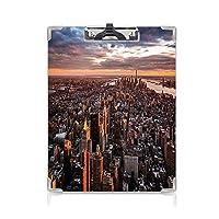 クリップボード A4 米国 子供の贈り物バインダー 日没時の有名な金融街ニューヨーク A4 タテ型 クリップファイル ワードパッド ファイルバインダー 携帯便利マンハッタンのスカイラインの眺め ブルーオレンジホワイト