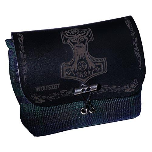 Grüne Gürtel- / Kilttasche Mjölnir - Thors Hammer mit schwarzem Leder und Gravur