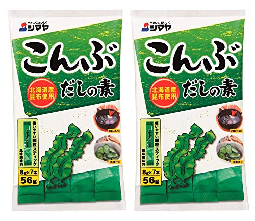 SHIMAYA Kombu Dashi Powder (Vegetarian Soup Stock) 1.9 oz (7 packets) [2 Pack]