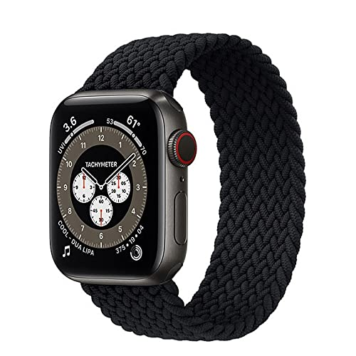 Laço solo trançado para apple watch band 44mm 40mm 42mm 38mm tecido náilon elástico cinto pulseira iwatch 3 4 5 se 6 cinta