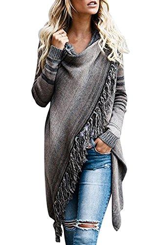 Minetom Damen Poncho Cape Mit Rollkragen Strickpullover Strickjacke Cardigan Unregelmäßig Sweater Herbst Winter Gestrickt Umhang A Braun DE 44