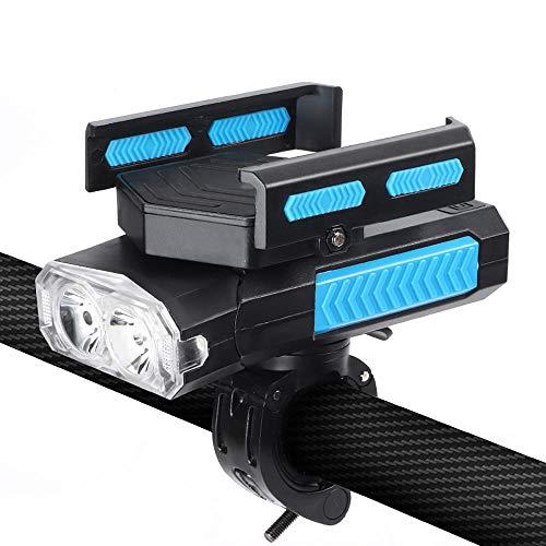 Luz de bicicleta, soporte para teléfonos móviles, carga USB, luz delantera impermeable Super brillante LED, altavoz fácil de instalar, cuatro modos adecuados para todas las bicicletas (Negro)