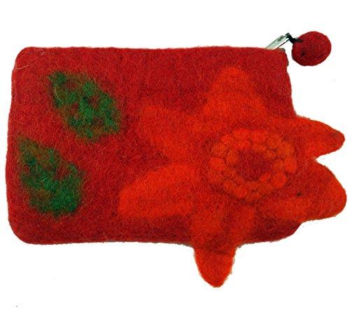 GURU SHOP Portemonnaie aus Filz, Filzportemonnaie Flower - Rot, Herren/Damen, Wolle, Size:One Size, 11x15 cm, Portemonnaies