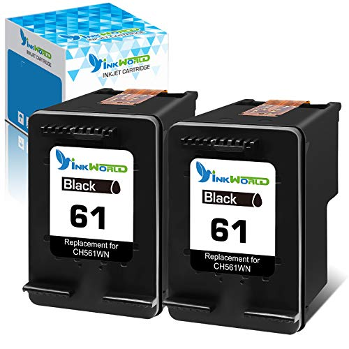 InkWorld Remanufactured 61 Ink Cartridge for HP 61 Twin Black Replacement for HP Envy 4500 4502 5530 DeskJet 1000 2050 3050 2512 1512 2542 2540 2544 3000 3052a 1055 2548 OfficeJet 4630 2620 Printers