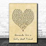 Diamonds are a Girl's Best Friend Vintage Heart Song Lyric Print