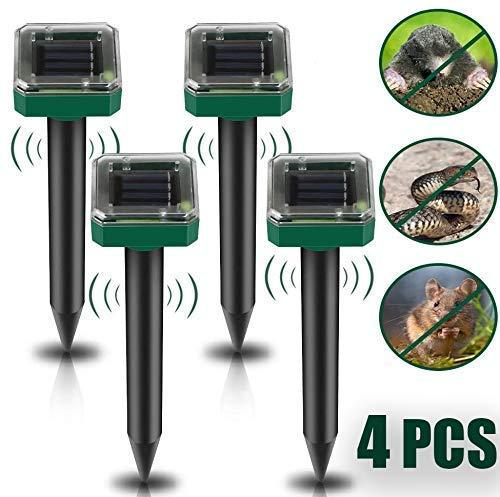 Vivibel Solar Maulwurfabwehr, [4 Stück] Solar Ultrasonic Tiervertreiber Maulwurfschreck mit IP56 Wasserdicht, Maulwurfbekämpfung, Wühlmausschreck, Mole Repellent, Schädlingsbekämpfung für Den Garten
