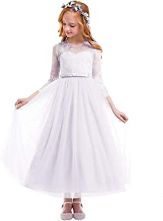 Little Big Girl Lace Flower Glittering Rhinestone Tutu Dress Long Sleeve First Communion Junior Bridesmaid Ball Gown