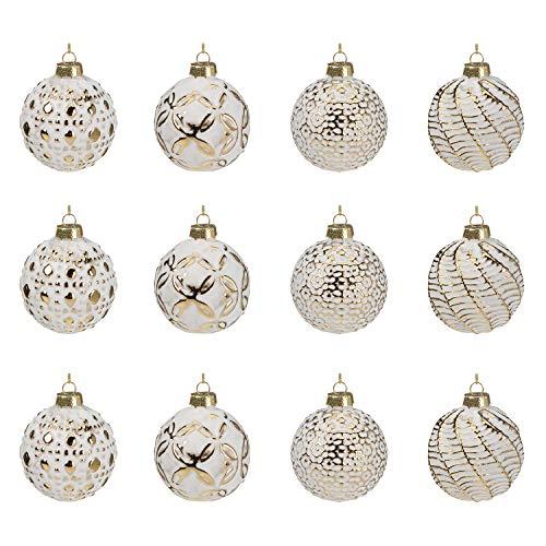 Multistore 2002, 12 palline di Natale, diametro di 6 cm, 2 varietà, colore bianco e oro, per albero di Natale, decorazioni