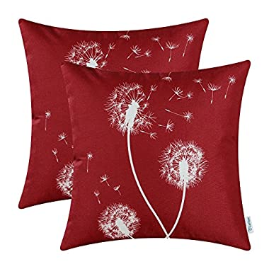 CaliTime Pack of 2 Canvas Throw Pillow Covers Cases for Couch Sofa Home Decor Solid Dandelion Print 18 X 18 Inches Dark Red
