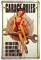 ガレージの装飾美容レトロな金属の装飾鉄の絵画ガレージの女の子のセクシーな写真はツールを正しく使用します8x12インチの金属ヴィンテージアールデコ