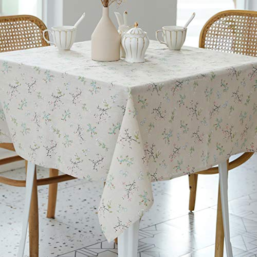Pastoral Square Tablecloth  60 x 60 Inch  Linen Fabric Table Cloth  Washable Table Cover with DustProof Wrinkle Resistant for Restaurant Picnic Bistro Indoor and Outdoor Dining Gardenia