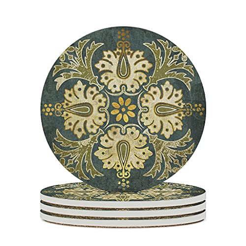 Facbalaign Posavasos de cerámica con diseño nacional indio, base de corcho resistente a los arañazos, olor neutro, 4 unidades, color blanco
