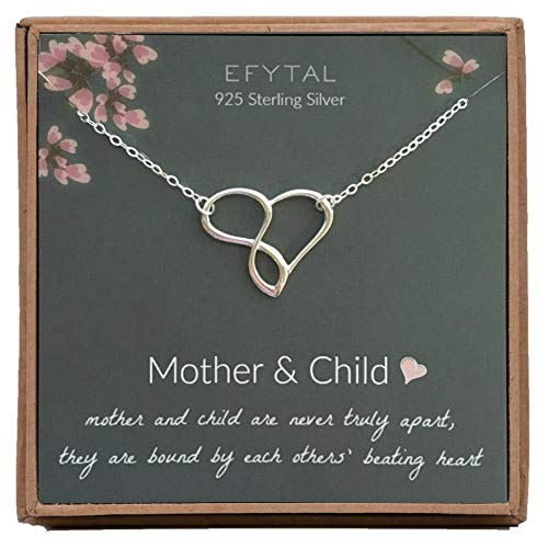 EFYTAL Mom Gifts, 925 Sterling Silver Infinity Heart Necklace for Mother & Child, Daughter or Son, Mom Necklaces for Women, Best Birthday Gift Ideas, Pendant Mother's Day Jewelry For Her, Mothers Day