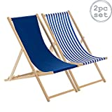 Harbour Housewares Traditional Adjustable Beach Garden Deck Chairs - Navy/Stripe