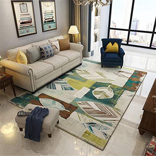 RUGYUW Tapetes para Mesa Diseñador rústico Verde marrón Amarillo Blanco,Salón sofá Dormitorio Comedor Cocina baño Suelo algombra (6