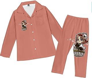 Pajama Set Teenagers Anime Demon Slayer Inosuke Loungewear Unisex Pjs Long Sleeve Button Down Nightwear Soft Sleepwear Lou...