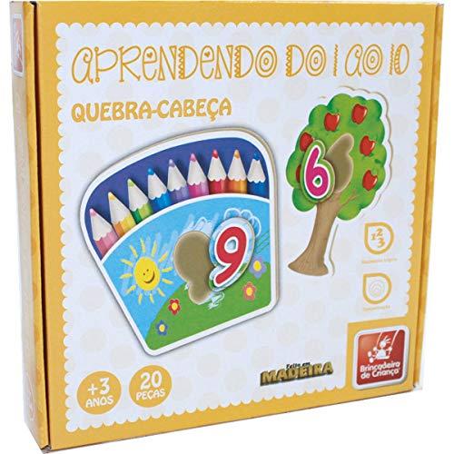 Brinquedo Pedagógico Madeira Quebra Cabeça Números 1 ao 10 Brincadeira De Criança