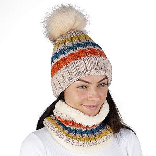 CityComfort Gorras Invierno Mujer Bufanda Invierno Calentador de Cuello Accesorios de Ski Niña Mujeres (Beige A144)