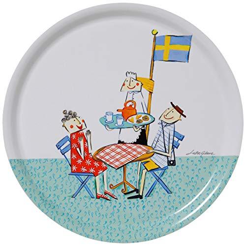 Bengt & Lotta Fika Tablett Ø 31 cm blau, weiß, rot, gelb