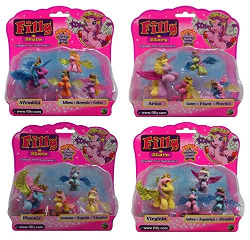 Dracco Filly Horse Glitter Stars Set van 4 Ram, Phoenix, Afrodite en Virginia, met Swarovski-kristallen in de kroon, voor meisjes