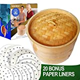 10' Bamboo Steamer/ 2 Tiers & Lid by Cuisine Natural -Incl. 20 Bonus Liner Papers | Made w/ Non Toxic Glue | Dim Sum, Meat & Dumpling Steam Cooker Set | Great For Rice, Crab & Veggies
