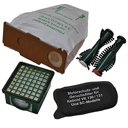 Spar-Set, 6 Microvliesbeutel, 1 Hygienefeinfilter, 1 Geruchsfilter geeignet für Ihren Vorwerk Kobold 130 131 und 1 Paar Ersatzbürsten geeignet für EB 350