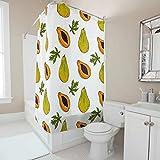 Sweet Luck Papaya Obst Duschvorhang Anti-Schimmel Wasserdicht Waschbar Stoff Duschvorhäng Polyester Textil Badvorhänge mit Duschvorhängeringen für Badewanne