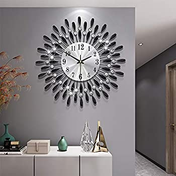 Modern 15 inch Metal Wall Clock Silver Dial with Arabic,Non-Ticking Silent Digital Black Drop Clock Home Decor for Bedroom,bedrooms Kitchen and Small Areas Space