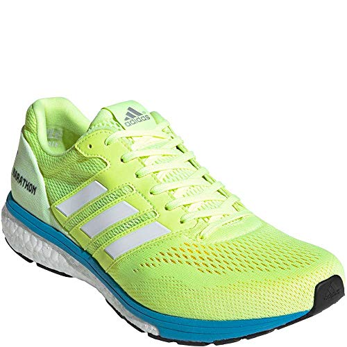 adidas Men's Adizero Boston 7 Running Shoes Hi-Res Yellow/Cloud White/Shock Cyan 11