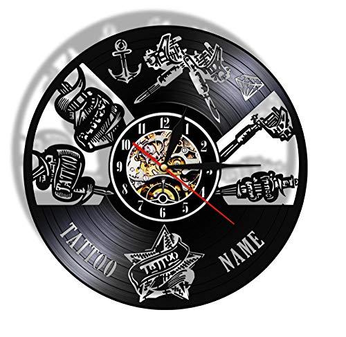 Estudio de Tatuajes Signo de Pared Salón de Tatuajes Disco de Vinilo Reloj de Pared silencioso Reloj Tienda Máquina de Tatuajes Arte de la Pared Decoración Hipster Hombres Regalo 12 Pulgadas