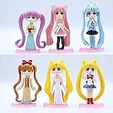 No 6 Unids/Set Sailor Moon Toys Water Ice Moon Doll Modelo Decoración para Hornear Decoración de Pas...