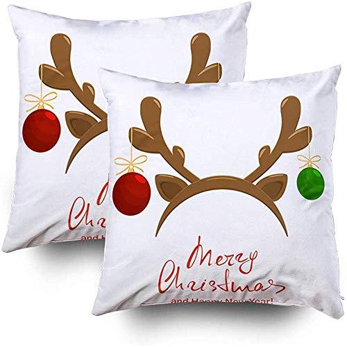 Sonder-Shop kussensloop, kussensloop bank kerstballen masker rendier Antler geïsoleerde vrolijke kerst gelukkig N gooien kussen