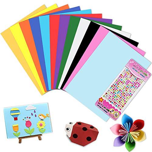 Cartoncini Colorati A4,DIY Cartoncini di Carta 12 Colori 60 Fogli 230GSM,Colorata Carta, Fogli Assortiti Bricolage per Fotografici Fare Origami Disegno Abbozzare + 260 Adesivi con Diamante colorato