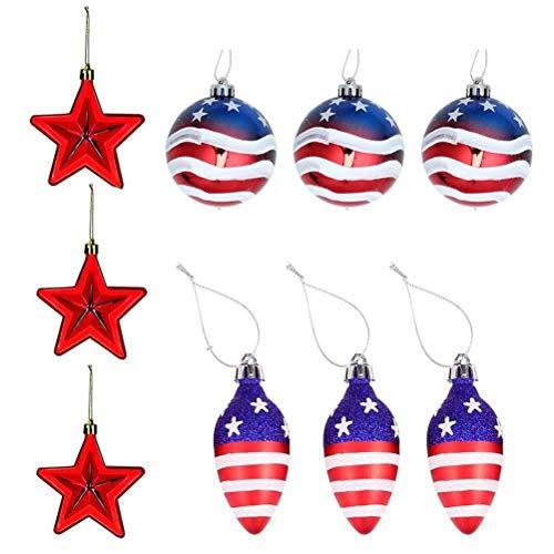 Lipeed 9 palline di Natale per albero di Natale con bandiera americana, decorazioni per albero di Natale, patriottiche, decorazioni per feste a tema USA