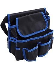 Tuin gereedschapstas, gereedschapsschort Schort met zakken Gereedschapsriem etui, duurzaam en praktisch voor tuin buitenshuis(black blue)