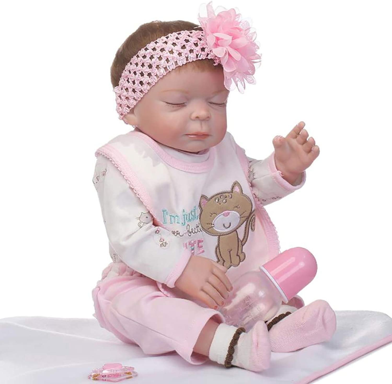 Skgardeniamy Infants Baby Toys, 50cm Lifelike Newborn Baby Doll Girl Boy Vinyl Silicone Pretend Play Reborn Toy, Best Birthday Presents Pink