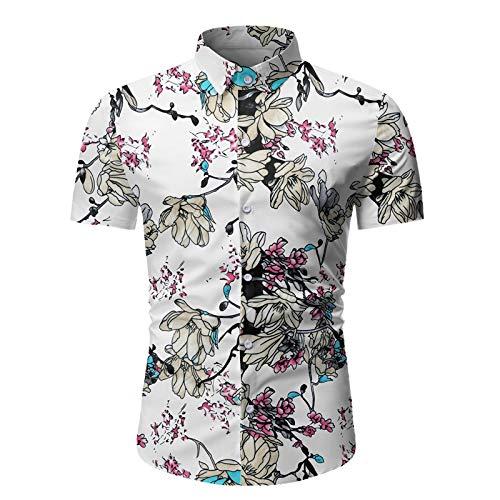Camisa con Cuello Vuelto para Hombre, Estilo Vintage, Estampado de Personalidad, Ajustado, Moda, Informal, con Botones, Camisa de Manga Corta Large