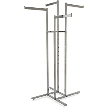 Clothing Rack – Chrome 4 Way Rack, Adjustable Height Blade Arms, Square Tubing, Perfect for Clothing Store Display With 4 Straight Arms