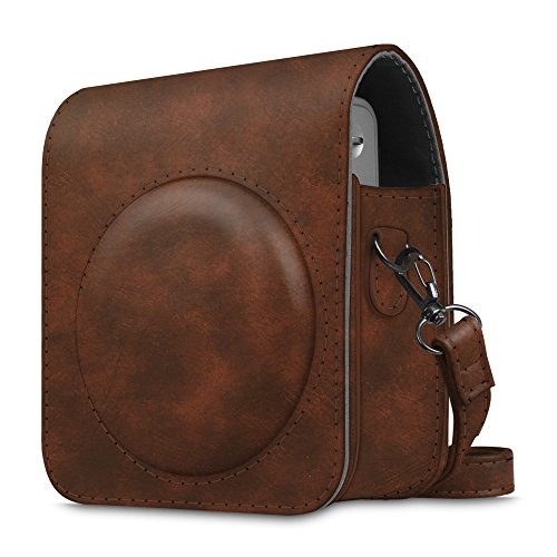 Fintie Protective Case Compatible with Fujifilm Instax Mini 90 Neo Classic Instant Film Camera - Premium Vegan Leather Bag Cover with Removable Strap, Vintage Brown