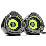 WESDAR Computer Speakers, 3.5mm USB Powered Subwoofer PC Speakers for Desktop Laptop Notebook, Pack of 2 (Green)