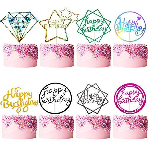 40 Piezas Toppers de Pastel de Feliz Cumpleaños Topper de Magdalenas Brillantes para Decoración Fiesta Cumpleaños, 8 Estilos
