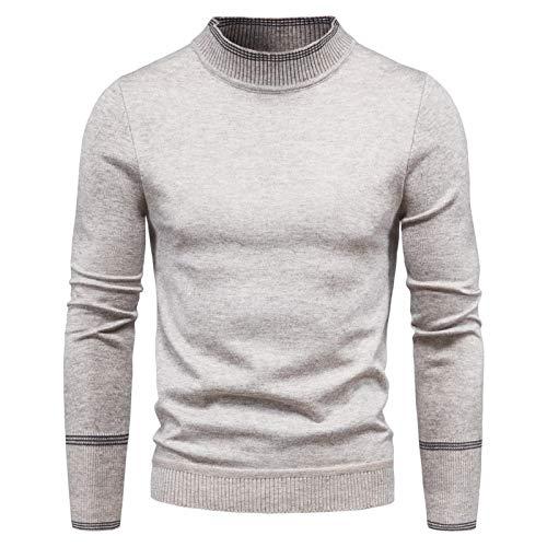 SLYZ Suéter Nuevo De Los Hombres Europeos Y Americanos Suéter De Manga Larga con Cuello Alto Medio Camisa De Fondo Delgado