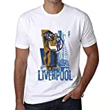 Hombre Camiseta Vintage T-Shirt Gráfico Liverpool Lifestyle Blanco