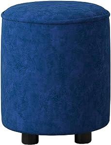 Dall Fußhocker Polsterhocker Modern Runder Sofa Hocker Schuhe Hocker Wohnzimmer Schlafzimmer Dauerhaft (Farbe : Blue 2, größe : 36×36×41cm)