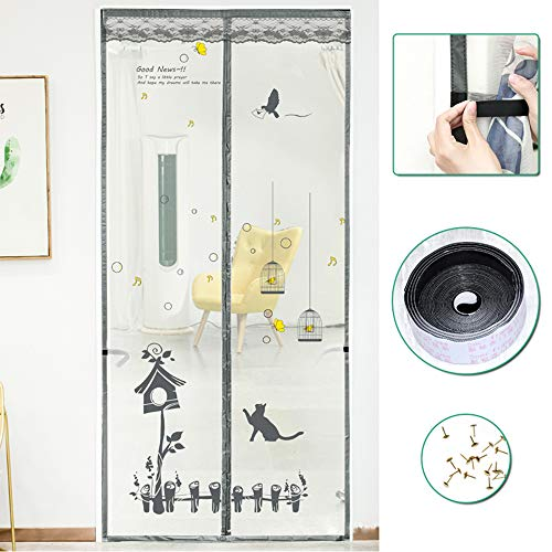 Mosquito Door Screen, Heavy Duty magnetische sluiting Mesh Klamboe Alle Maat voor de ramen en deuren Full Frame,100 * 210cm