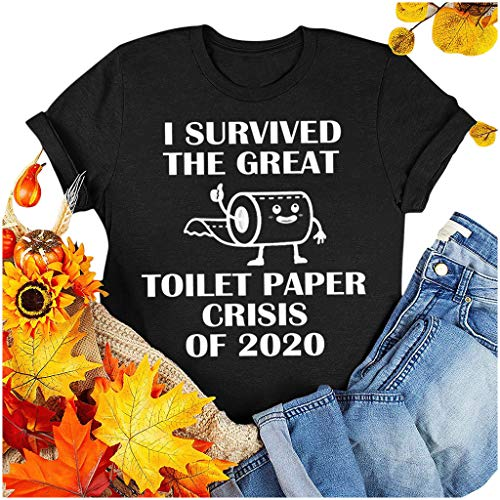 Dasongff I Survived The Panic of 2020 T-shirt, toiletpapier grafisch korte mouwen, ronde hals, tops, grappige shirts thee basic bovenstuk los zomertops 4XL A