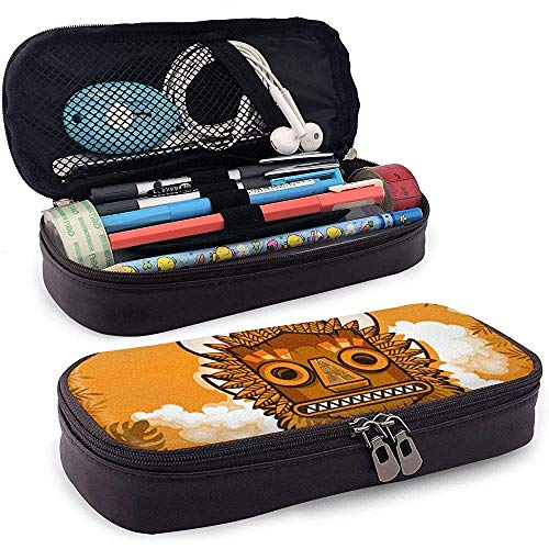 Aloha Hawaii Tiki Masker Bladeren Achtergrond Im Lederen Gedrukt Potlood Case Leuke Pen Potlood Case Box School Levering voor Studenten, Grote Capaciteit briefpapier Box