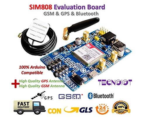 TECNOIOT SIM808 Module gsm GPRS GPS Development Board IPX SMA with GPS gsm Antenna