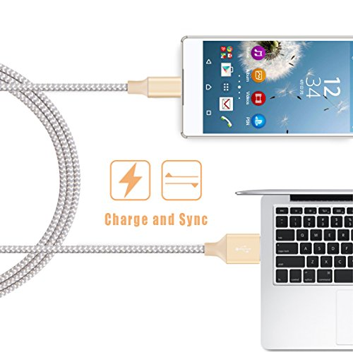 BUDGET & GOOD Micro USB Cable, 2 Pack 6Ft Charging Cords Nylon Braided High Speed USB 2.0 for Android Devices, Samsung Galaxy LG Motorola Nexus Sony XiaoMi and More