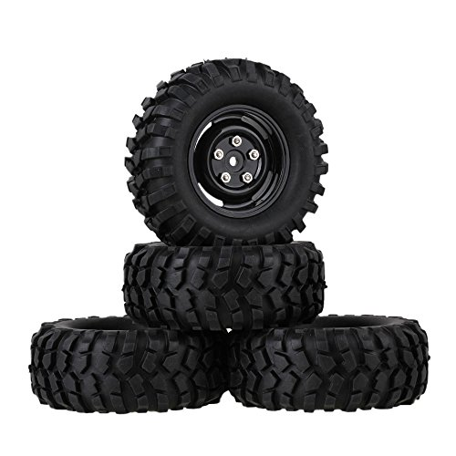 Mxfans 12mm Hex Black Plastic Wheel Rims Screws & Rubber Tyres Tires RC 1:10 Racing Climbing Rock Crawler Pack of 4